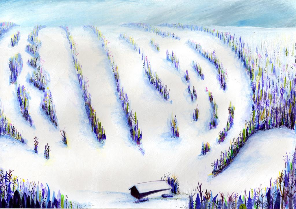 Ski trail map artist painting
