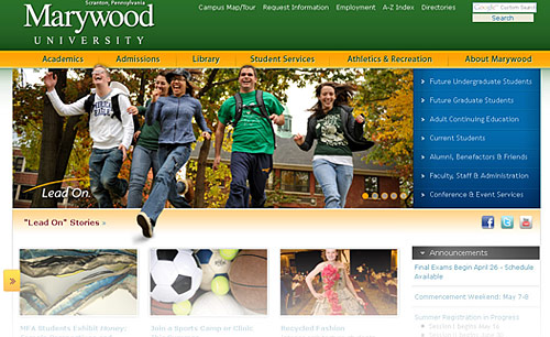 Marywood website BEFORE dynamic block redesign