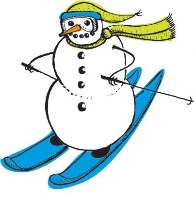 Skiing snowman drawing